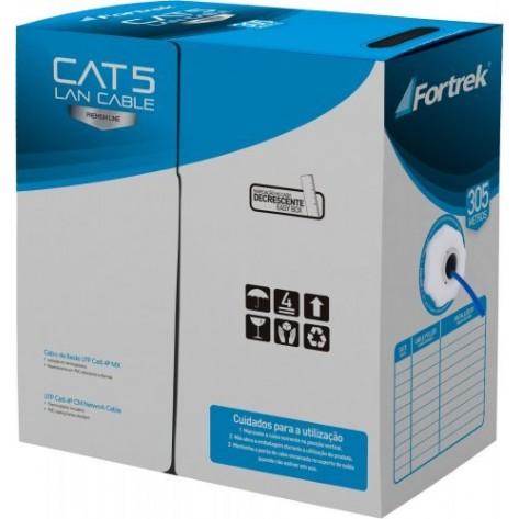 Cabo de Rede FORTREK CAT-102/305BL - U/UTP Cat5 24AWG 4P CMX - 305 Metros - Azul