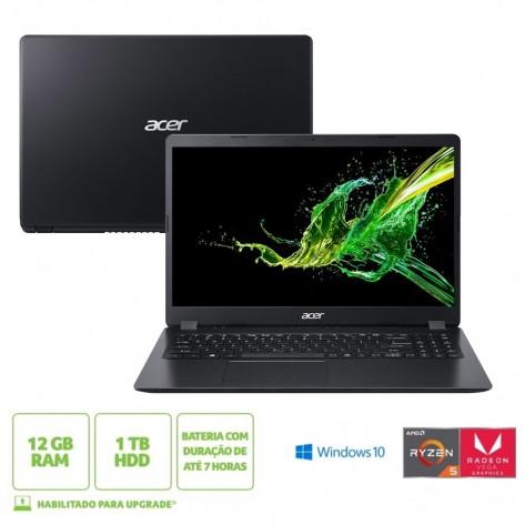 Notebook Acer Aspire 3 A315-42-R1B0 AMD Ryzen 5 3500U - Tela 15.6'' - 12GB RAM - 1TB HD - Windows 10 Home