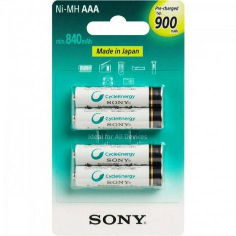 Pilha Recarregável Sony Ni-MH AAA - Com 4 pilhas AAA - 900mAh NiMh