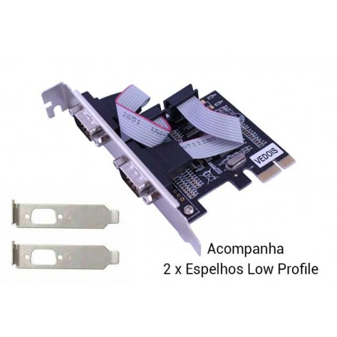 Placa serial PCI Express - Com 2 saídas seriais RS232