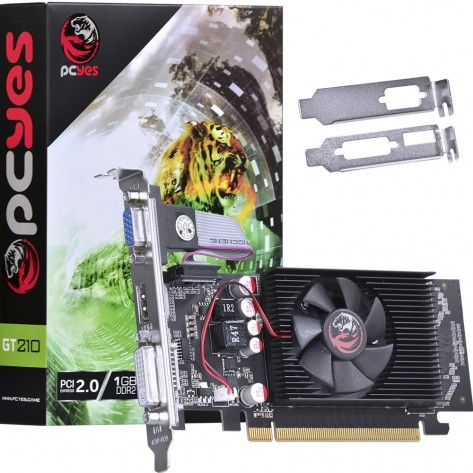 Placa de Vídeo PCYes NVIDIA Geforce GT 210 - 1GB DDR2 64 bits - PCI-E 2.0 - Low Profile