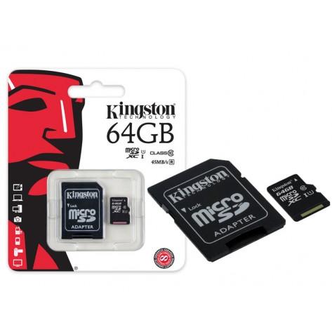 Cartão de memória Kingston - Classe 10 - SDC10G2/64GB - Micro SDXC 64GB com adaptador SD