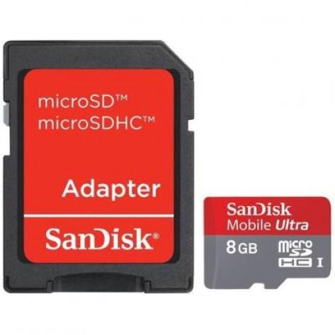 Cartão de memória SanDisk Ultra MicroSDHC com Adaptador SD - 8 GB