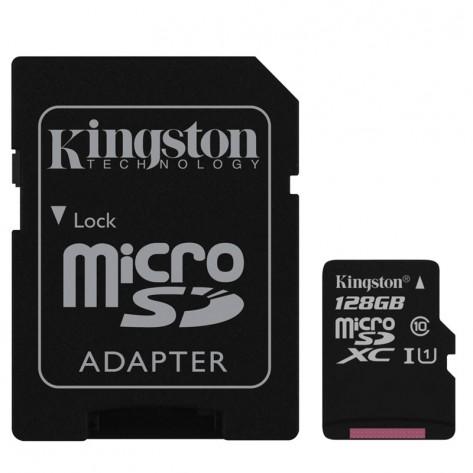 Cartão de Memória MicroSDHC com Adaptador SD Kingston SDC10G2/128GB - 128GB Classe 10