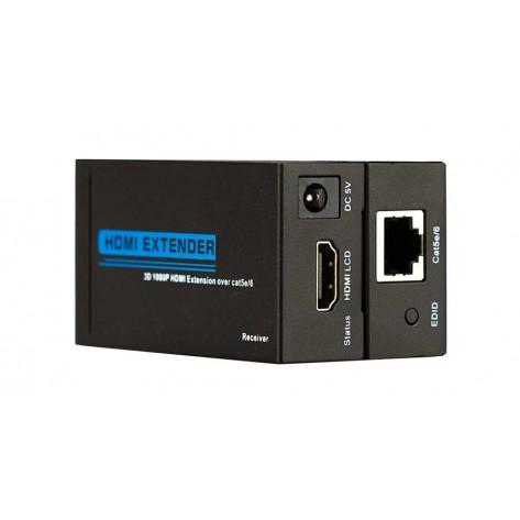 Extensor HDMI Full HD via cabo de rede Cat5 Cat6 - até 60 Metros
