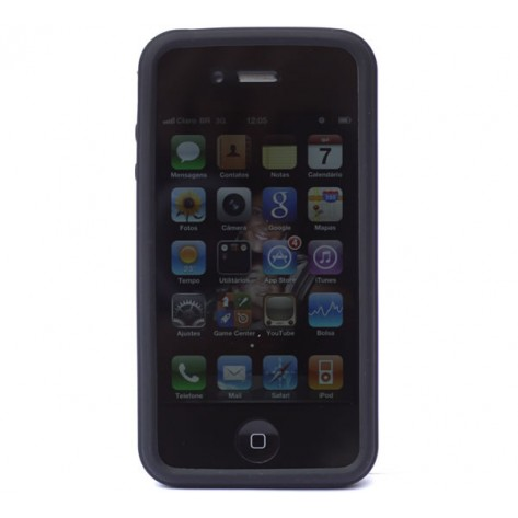 Capa para iPhone 4 Geonav IPH4-02SB - Silicone (friso, marca pneu) - Preto