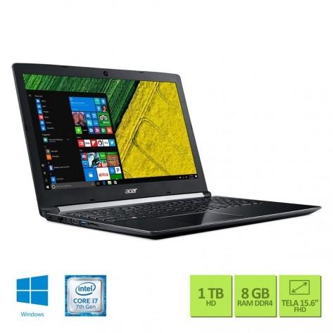 """Notebook Acer Aspire 5 A515-51G-72DB - Intel Core i7-7500U - Tela 15.6"""" FHD - 8GB RAM - 1TB HD - GeForce 940MX 2GB GDDR5 - Windows 10 Home"""