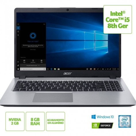 "Notebook Acer Aspire 5 A515-52G-577T - Intel Core i5-8265U - Tela 15.6"" HD - 8GB RAM - 1TB HD - GeForce MX130 2GB GDDR5 - Windows 10 Home"
