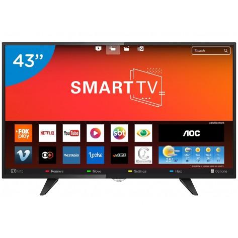 Smart TV LED 43'' AOC LE43S5970S - Full HD - 2 USB 3 HDMI - Com Conversor Digital