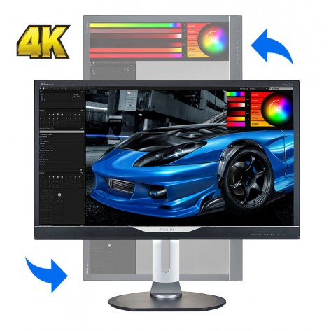 "Monitor Philips 288P6LJEB - LED 28"" Polegadas - 4K Ultra HD - 1ms - Pivot - (3840x2160)"