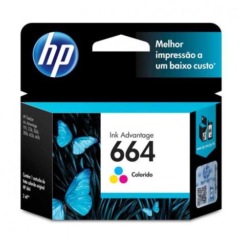 Cartucho de Tinta HP 664 Tricolor - (F6V28AB)