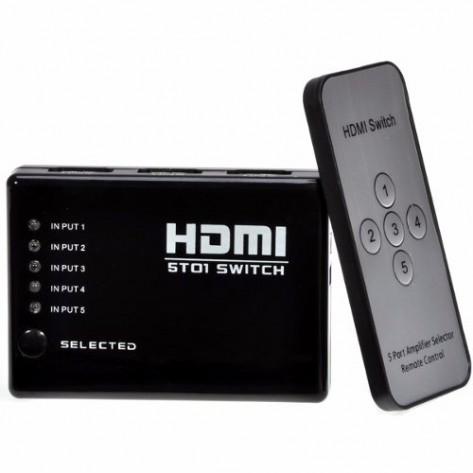 Switch HDMI 5 Portas com Controle Remoto