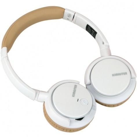 Fone de Ouvido headphone Bluetooth - Kimaster K1 - Branco e Dourado