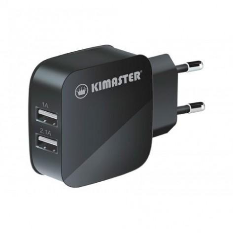 Carregador de Parede Universal Kimaster com 2 portas USB - TO-350 - Preto