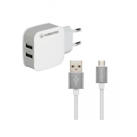 Kit Carregador com 2 USB + Cabo Micro USB 2A - Kimaster KT608