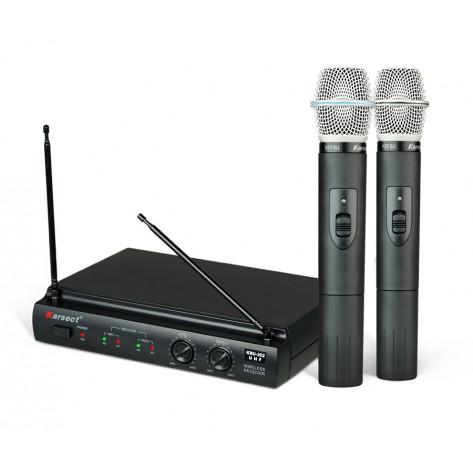 Microfone sem Fio Karsect KRU 302 de Mão - Duplo - UHF