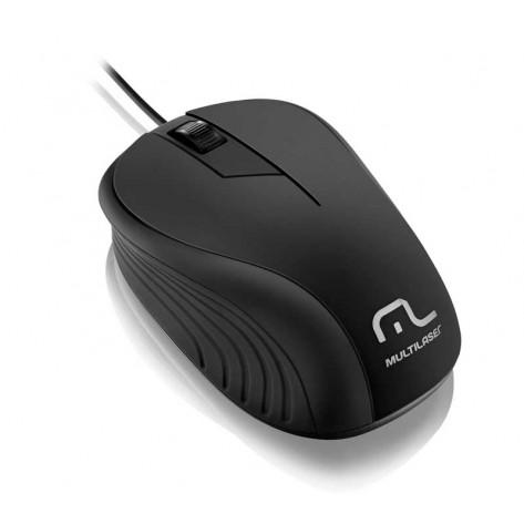 Mouse Multilaser Emborrachado Preto Com Fio - USB