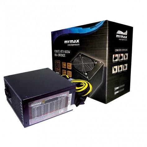 Fonte ATX 600W Mymax MPSU/FP650W - 80 Plus Bronze - PFC Ativo
