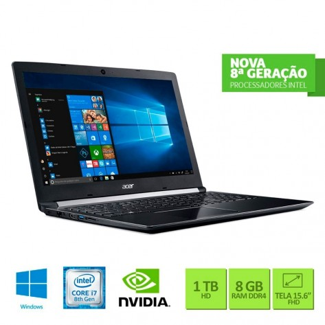 Notebook Acer Aspire 5 A515-51G-C690 - Intel Core i7-8550U - Tela 15.6'' FHD - 8GB RAM - 1TB HD - GeForce MX130 2GB GDDR5 - Windows 10 Home