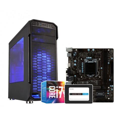 Computador Gamer com Intel Core i7-7700 - 8GB RAM 1TB HD SSD 120GB - Gabinete C3 Tech Gamer