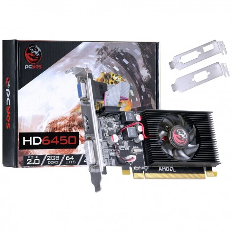 Placa de Vídeo PCYes AMD Radeon™ HD 6450 - 2GB DDR3 64 bits - PCI-Express 2.0 - Low Profile