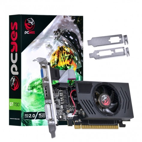 Placa de Vídeo PCYes NVIDIA Geforce GT 730 - 4GB DDR3 128 bits - PCI-E 2.0 - Low Profile