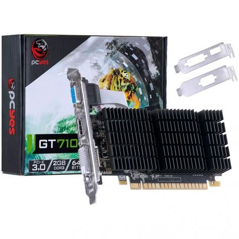 Placa de Vídeo PCYes NVIDIA Geforce GT 710 - 2GB DDR3 64 bits - PCI-E 3.0 - Low Profile