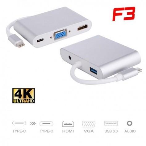 Adaptador USB-C 3.1 TYPE-C para 5 em 1 - HDMI - VGA - Type-C 3.1 - USB 3.0 e Áudio - F3 1325