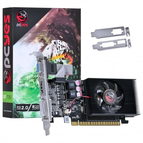 Placa de Vídeo PCYes Geforce GT730 PW730GT12802D3LP - 2GB DDR3 128 bits - PCI-E 2.0 - Low Profile
