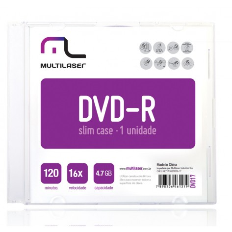 Mídia DVD-R Multilaser DV052 - 1 unidade - 4.7GB 16x
