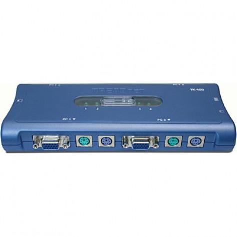 Chaveador KVM Trendnet TK-400K 4 portas com VGA e conexões PS/2 para computador