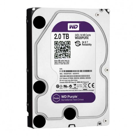 HD 2TB (2000GB) Western Digital WD20PURX Sata III - 64MB IntelliPower
