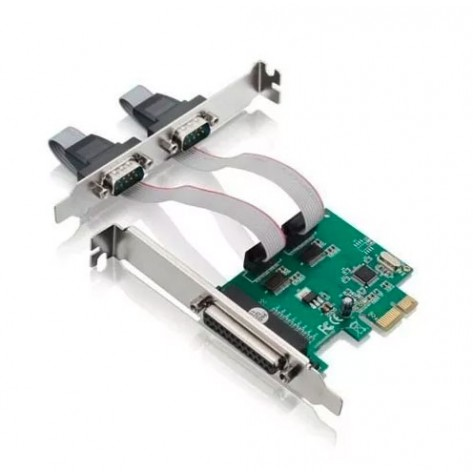 Placa de Jikatec - PCI-Express X1 - 2 Saídas Serial + 1 Paralela - Low Profile