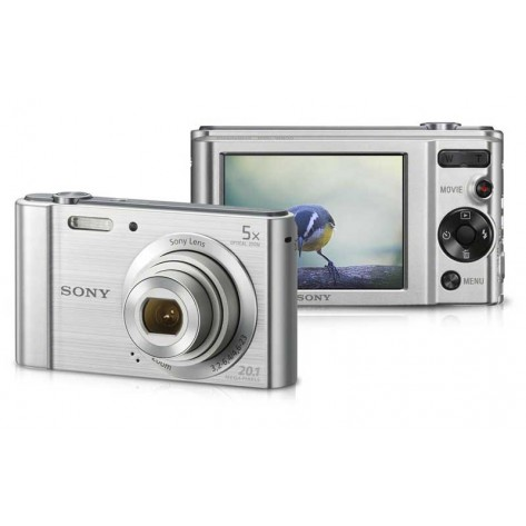 "Câmera Digital Sony DSC-W800 -  20MP Visor 2.7"" Filma em HD - Prata"
