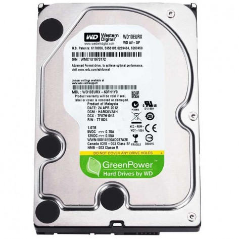 HD 1TB Western Digital GreenPower WD10EURX Sata III - 64MB IntelliPower