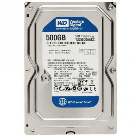 "HD 3.5"" 500GB Western Digital Blue WD5000AAKX - 7200RPM - 16MB Cache - SATA 6Gb/s"