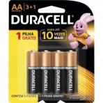 Pilha Alcalina Duracell MN1500B4 - AA - Pack com 4