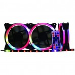 Kit Cooler K-Mex AF-J1225 ARGB Rainbow - 120x120x25 mm - 3 Fans + Fita LED + Controle Remoto