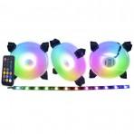 Kit Cooler K-Mex AK-AAF1 ARGB Rainbow - 120x120x25 mm - 3 Fans + Fita LED + Controle Remoto