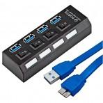 Hub USB 3.0 CXR-HUB3.0-04P - 4 Portas - Preto