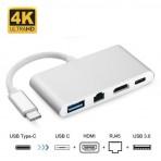 Adaptador USB-C 3.1 Tipo-C para 4 em 1 - HDMI - Tipo-C 3.1 - USB 3.0 e RJ45 - F3 1331