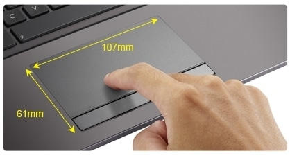 Touchpad 47% maior com Multi-Gesture