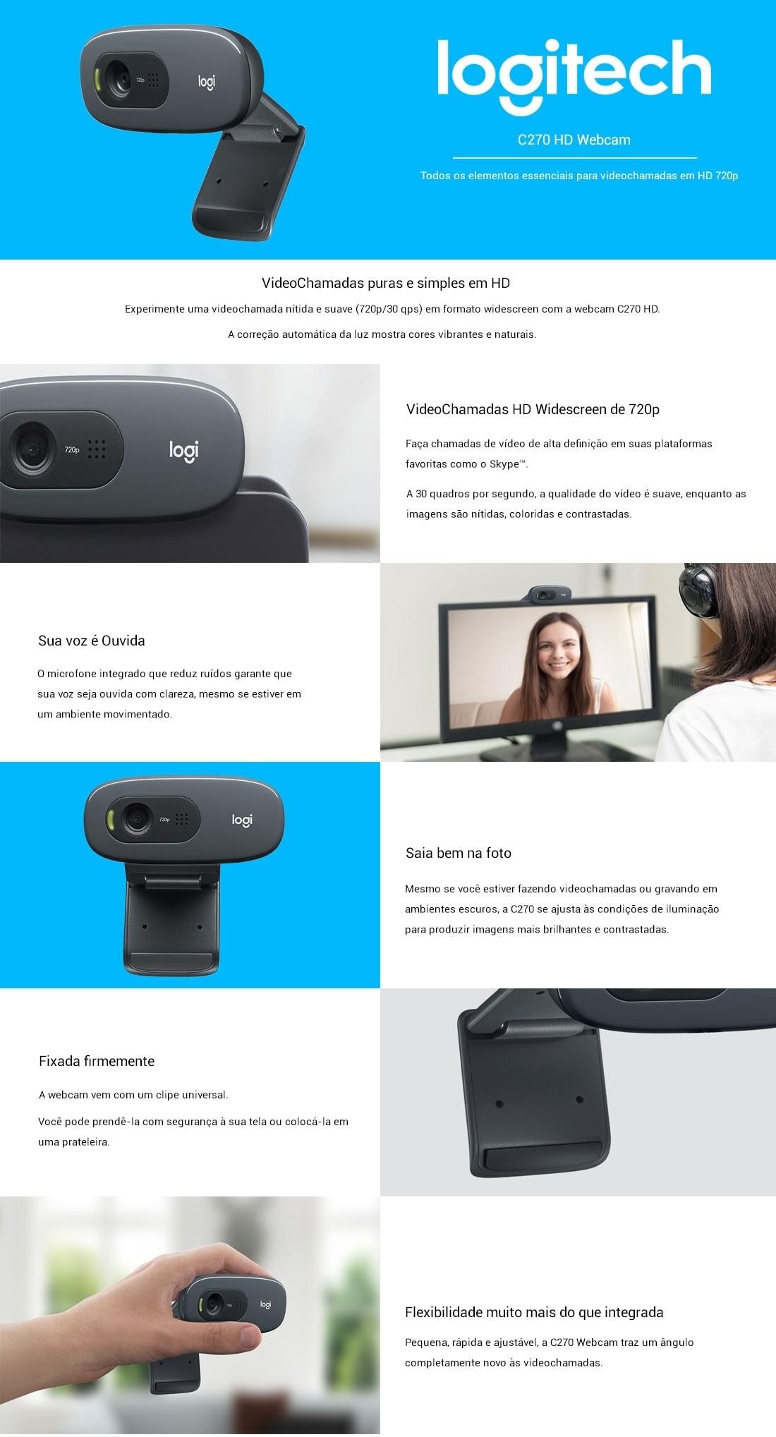 Webcam Logitech Hd C270 Video 720p 3 Megapixels Dhcp Informaes
