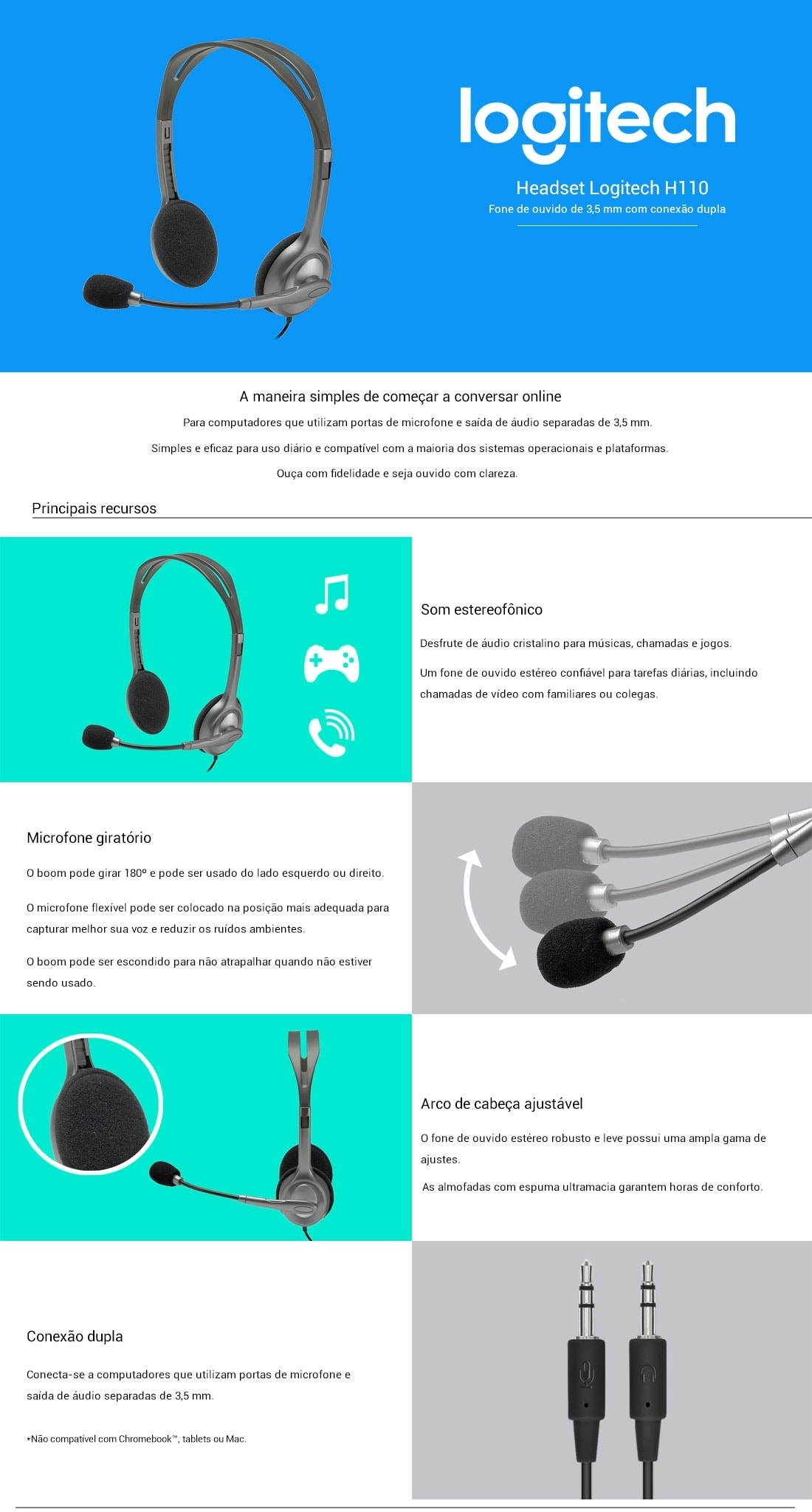 Fone De Ouvido Headset Logitech Stereo H110 Dhcp Informtica Informaes